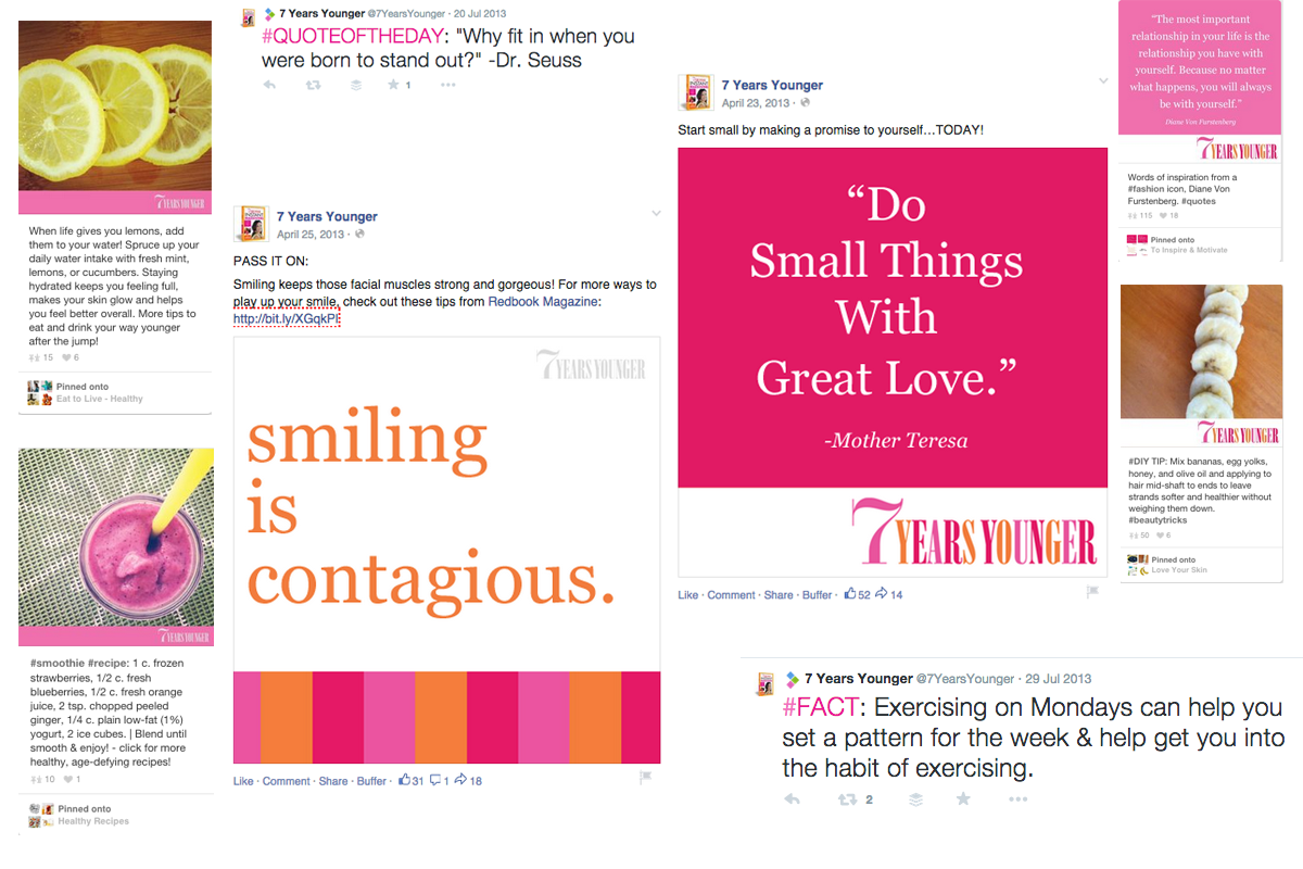 Hearst 7 Years Younger Social Media Content Examples