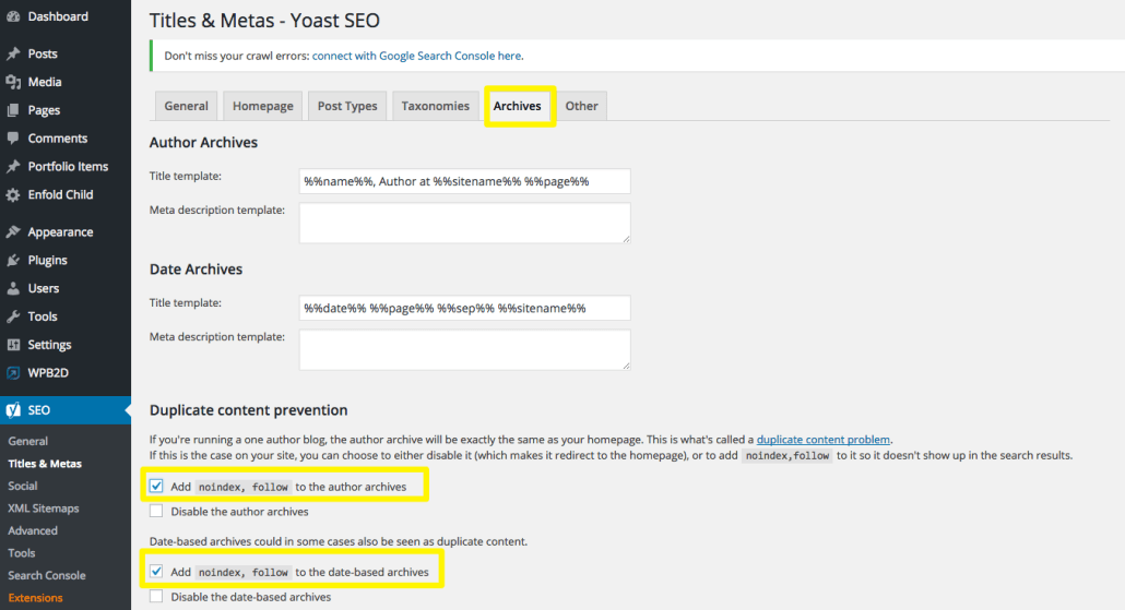 Yoast SEO Titles & Meta Archives | Anna Crowe