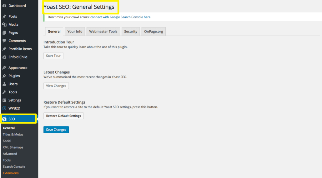 Yoast SEO General Settings | Anna Crowe