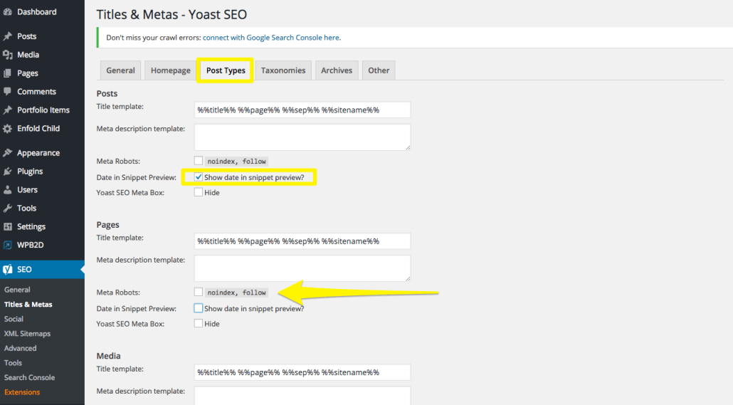 Yoast SEO Titles & Meta Post Type | Anna Crowe