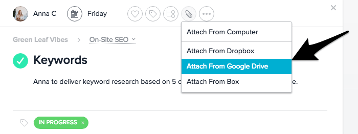 file sharing in Asana