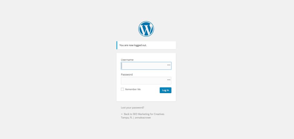 WordPress Login| Anna Crowe