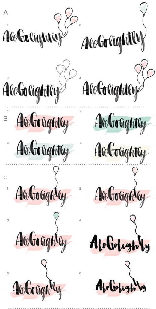 Alegolightly logo designs