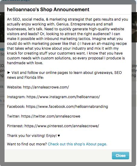 Etsy Shop Announcement | Anna Crowe
