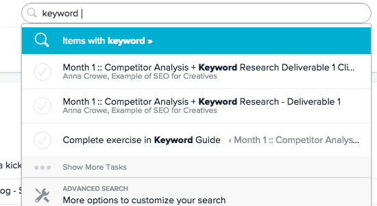 search function in asana